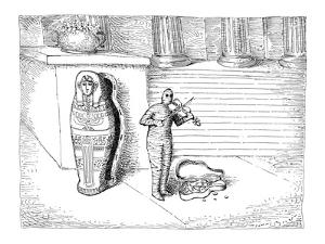 Mummy is playing violin outside museum. Violin case is open in front of hi… - New Yorker Cartoon by John O'brien