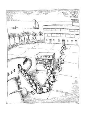 People arriving at a tropical location check their coats at airport. - New Yorker Cartoon by John O'brien