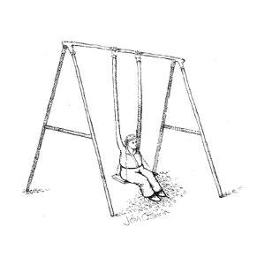 Person on swings using long arms to sway. - Cartoon by John O'brien