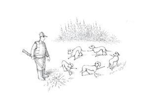 Pointer dogs blaming eachother - Cartoon by John O'brien