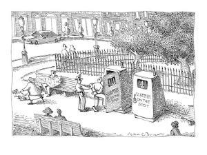 Policeman places criminal in 'Slammer On The Spot,' a portable jail cell i… - New Yorker Cartoon by John O'brien