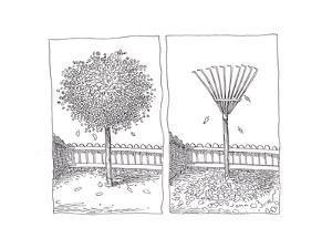 Raking leaves - Cartoon by John O'brien