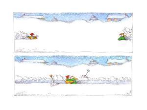 Shoveling Snow - Cartoon by John O'brien