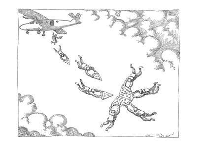 Skydivers, holding slices of a large pizza, form a whole pie in the sky. - New Yorker Cartoon