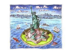 Statue of Liberty and family - Cartoon by John O'brien
