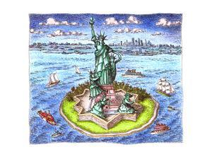 Statue of Liberty and family - Cartoon by John O'brien