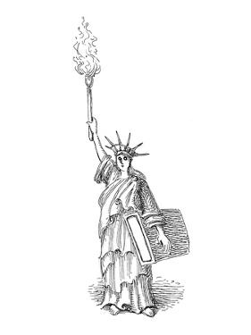 Statue of Liberty holds torch - Cartoon by John O'brien