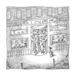 The revolving door into a Diner has a revolving selection of cakes and pie… - New Yorker Cartoon by John O'brien