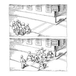 Two panel drawing.  Children wait at school crossing, sign reads 'Cross' b… - New Yorker Cartoon by John O'brien