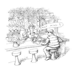 "Waitress to customer ""Salt Mill?"". - New Yorker Cartoon by John O'brien"