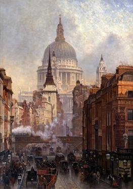 St. Paul's Cathedral and Ludgate Hill, London, England by John O'connor