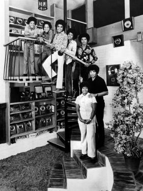 Jackson Five Michael, Marlon, Tito, Jermaine, and Jackie, with Parents Joe and Katherine Jackson by John Olson