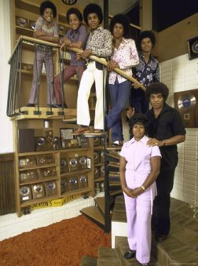 Jackson Five Michael, Marlon, Tito, Jermaine, Jackie and Parents Mr. and Mrs. Joseph Jackson by John Olson