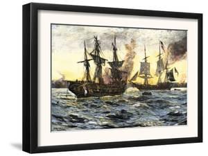 John Paul Jones in Command of the Ranger in Battle with the British Ship Drake