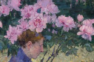 Peonies and head of a Woman by John Peter Russell