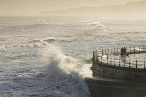 Scarborough South Bay rough seas and sea defences, Scarborough, North Yorkshire, Yorkshire, England by John Potter