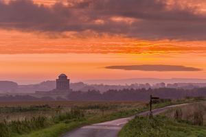 September sunrise over the Mausoleum on the Castle Howard Estate, North Yorkshire, Yorkshire, Engla by John Potter