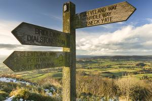 Sneck Yate signpost at Whitestone Cliffe, on The Cleveland Way long distance footpath, North Yorksh by John Potter