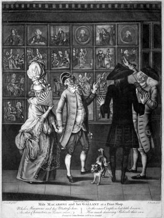 Miss Macaroni and Her Gallant at a Print Shop, 1773