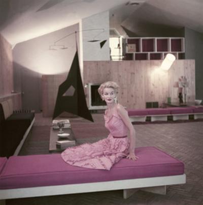 Model Sunny Harnett Seated in Architect Jos-Luis Sert's House by John Rawlings