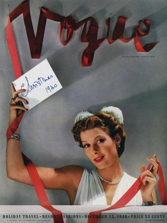 Vogue Cover - December 1940 by John Rawlings