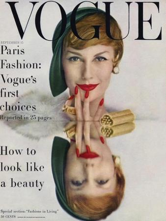Vogue Cover - September 1957 - Mirrored Beauty by John Rawlings