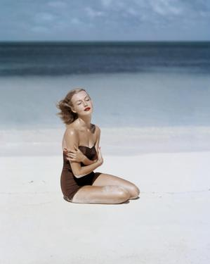 Vogue - July 1953 - Strapless Givenchy Swimsuit by John Rawlings