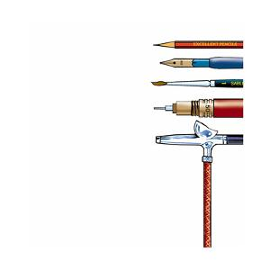 Painting Utensils Against White with Copy Space by John Richardson