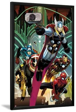 Avengers No.5 Cover: Thor, Captain America, Spider-Man, Iron Man, and Wolverine Flying by John Romita Jr.