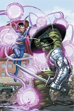 World War Hulk No.4 Cover: Hulk and Dr. Strange by John Romita Jr.