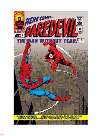 Daredevil No.16 Cover: Spider-Man and Daredevil Charging by John Romita Sr.
