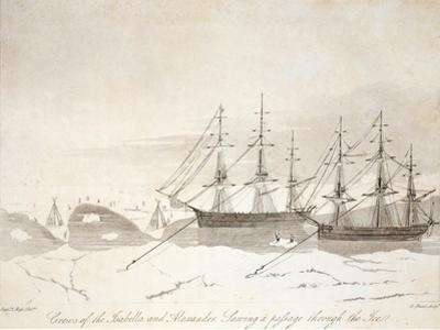 Crews of the Isabella and Alexander Sawing a Passage Through the Ice