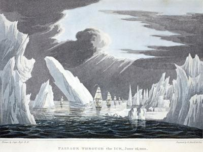 Passage Through the Ice, 16th June 1818, Illustration from 'A Voyage of Discovery...', 1819