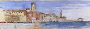 Gondolas Alongside A Palazzo and Bridge in Venice by John Ruskin