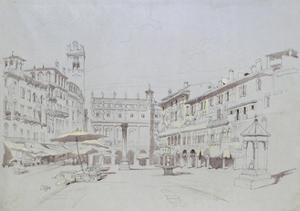 Study for Detail of the Piazza Delle Erbe by John Ruskin