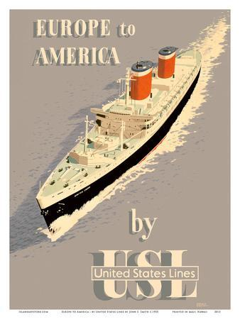 Europe to America - by United States Lines - S.S. United States Ocean Liner