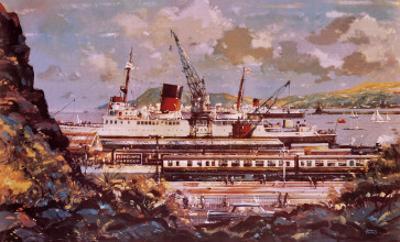 Fishguard Harbour Scene by John S. Smith