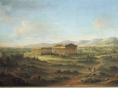 Two Great Temples of Paestum, Basilica on Left and Temple of Neptune or Poseidon on Right by John S. Smith