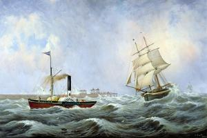 The Brig 'Brotherly Love' and Tug 'William', 1875 by John Scott