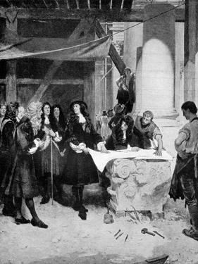 Charles II Visiting Sir Christopher Wren During the Building of St Paul's Cathedral, London, 1909 by John Seymour Lucas