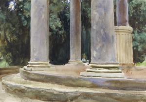 A View Between the Columns of a Tempietto (Watercolour and Touches of Bodycolour over Indications i by John Singer Sargent