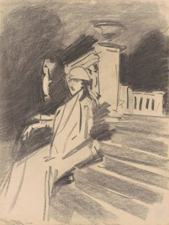 By the Fountain, Villa Torlonia, Frascati, c.1907 by John Singer Sargent