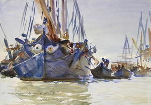 Italian Sailing Vessels at Anchor (Watercolour over Indications in Graphite on Rough Paper) by John Singer Sargent