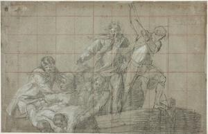 Rescue Group, 1777/78 (Black Chalk Heightened with White on Paper) by John Singleton Copley