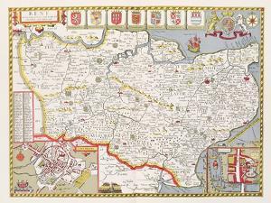Kent, engraved by Jodocus Hondius by John Speed