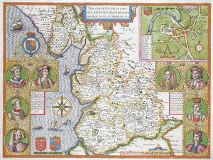 Lancashire in 1610, from John Speed's 'Theatre of the Empire of Great Britaine', First Edition by John Speed