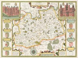 Map of Surrey, engraved by Jodocus Hondius by John Speed