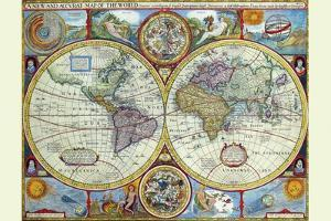 New and Accurate Map of the World; a Stereographic Projection by John Speed