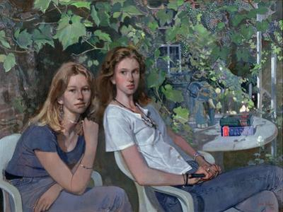 Portrait of two girls, seated indoors, with grapevine, 1993 by John Stanton Ward