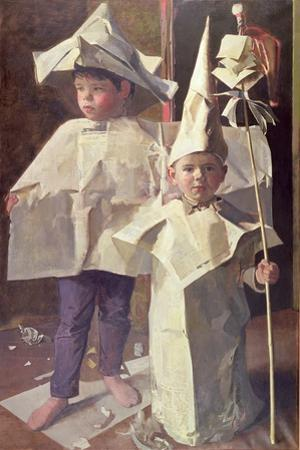 The Newspaper Boys, the artist's sons William and George, 1960 by John Stanton Ward